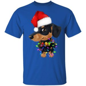 Dachshund dog with santa hat christmas shirt