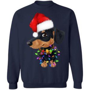 Dachshund dog with santa hat christmas