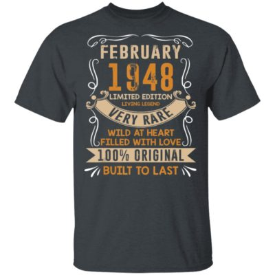Vintage 72nd Birthday February 1948 72 Years Old T-Shirt