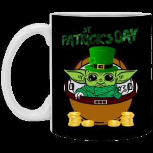 Baby Yoda The Mandalorian Happy St Patrick's Day Mug, Necklace