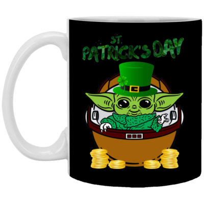 Baby Yoda The Mandalorian Happy St Patrick's Day Mug, Necklace