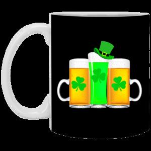 Green Beer Shamrock Funny Drinker St Patrick's Day Mug, Necklace