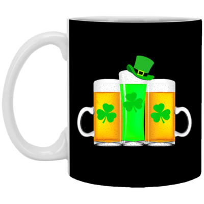 Green Beer Shamrock Funny Drinker St Patrick's Day Mug, Necklace