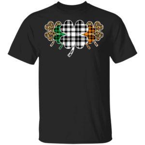 St Patricks Day Buffalo Plaid Leopard Shamrock T-Shirt Long Sleeve Hoodie