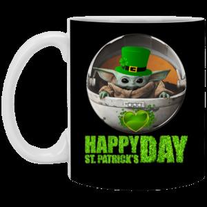 Baby Yoda Happy St Patrick's Day Mug, Necklace