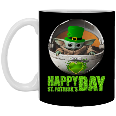 Baby Yoda Happy St Patrick's Day Mug, Necklace