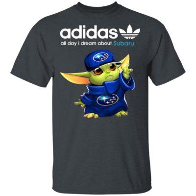 Baby Yoda All Day I Dream About Subaru Adidas Shirt