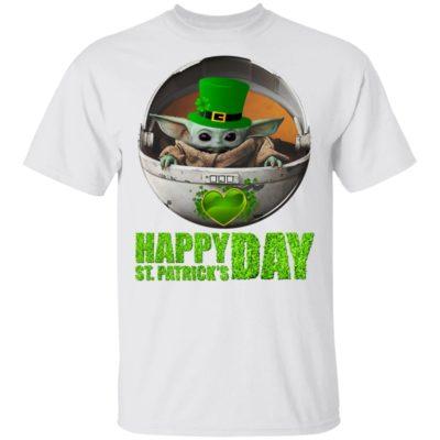 Baby Yoda Happy St Patrick's Day Shirt Raglan Hoodie