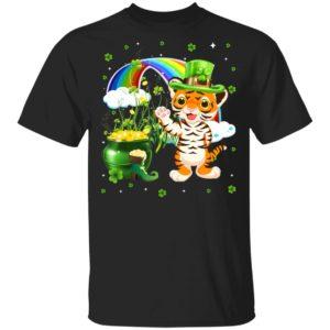 St Patrick's Day Cute Tiger Irish Shamrock Shirt Raglan Long Sleeve