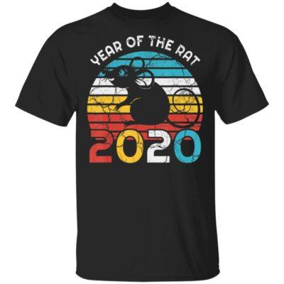 Year Of Rat 2020 New Year Vintage Zodiac Shirt Long Sleeve Hoodie
