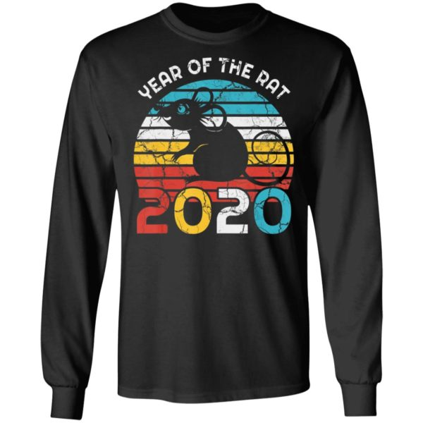 Year Of Rat 2020 New Year Vintage Zodiac Shirt Long Sleeve Hoodie