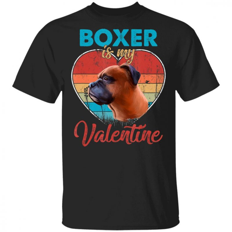 Vintage Heart Boxer Is My Valentine Dog Lover Shirt Long Sleeve Hoodie