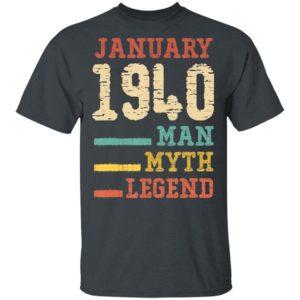 Vintage 80th birthday 1940 January Man Myth Legend T-Shirt