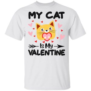 My Cat Is My Valentine Funny Cat Lover Shirt Long Sleeve Hoodie
