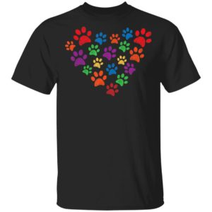 Colorful grunge paw prints in heart shape for cat or dog Shirt