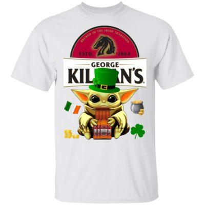 Baby Yoda Hug George Killian's Irish Red Beer St Patrick's Day Shirt Raglan Hoodie