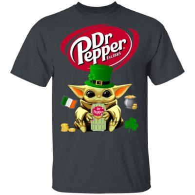 Baby Yoda Hug Dr Pepper St Patrick's Day Shirt Raglan Hoodie
