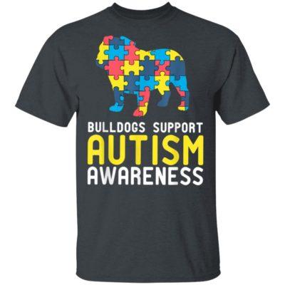 Novelty Autism English Bulldog Lover Awareness T-Shirt Long Sleeve Hoodie