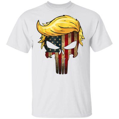 Vintage Trump Hair Skull 2020 American Flag T-Shirt Long Sleeve Hoodie
