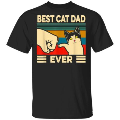 Best Cat Dad Ever Vintage Men Bump Fit Fathers Day Shirt Long Sleeve Hoodie