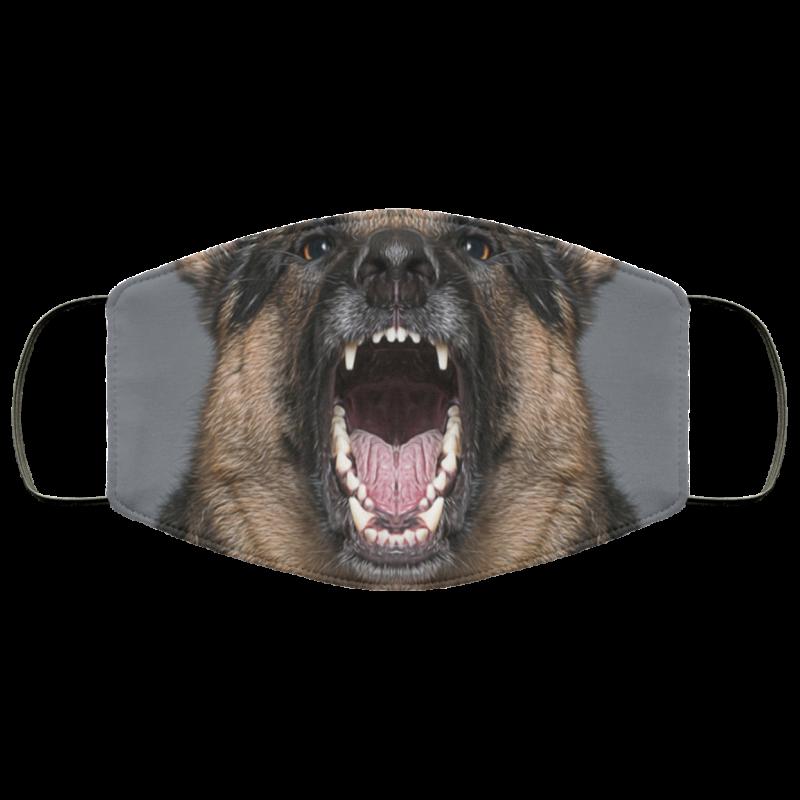 Fierce dog baring teeth Snarling Puppies face mask