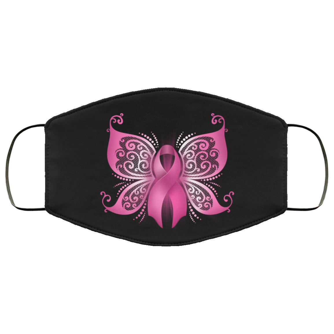 Breast Cancer Awareness Pink Ribbon Butterfly Face Mask
