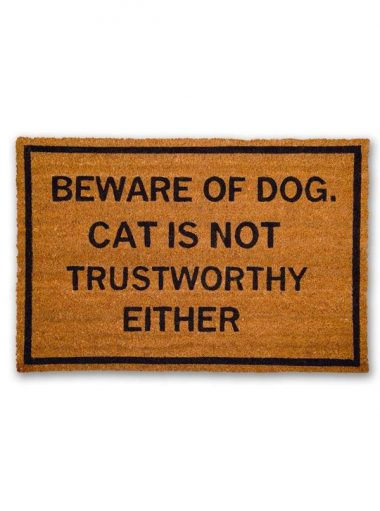 Beware of dog, Cat is not trustworthy either Doormat