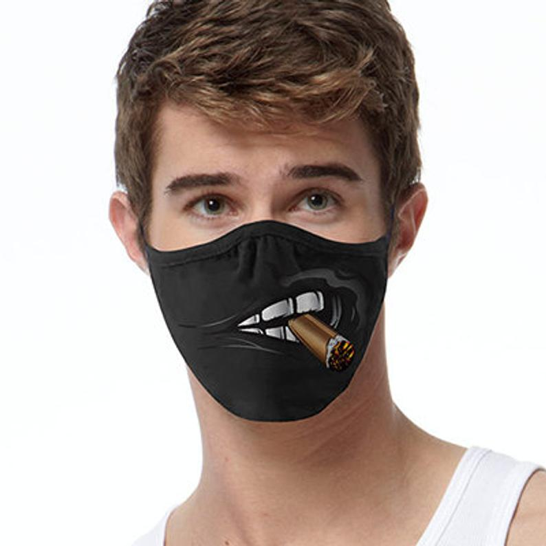 Cigar Smoker, Black Face Mask, Full Coverage, Washable Reusable