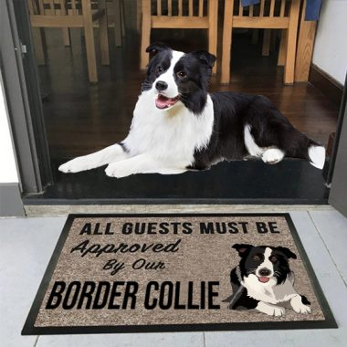 all guests must be approved by our Border collie Doormat