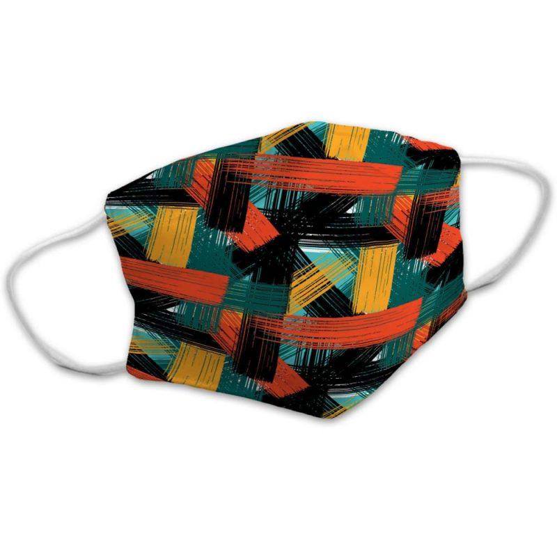 Vintage Colorful Plaid Stripes Face Mask