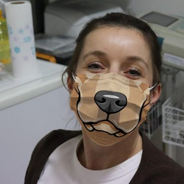 Yellow Labrador Lab Dog Cartoon Face Face Mask