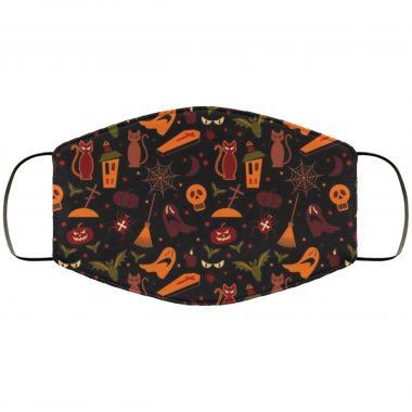 Halloween Pumpkins Bats Cats Owls Design v1 Scary Spooky Face Mask
