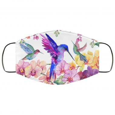 Hummingbird and Orchid Pattern Face Mask