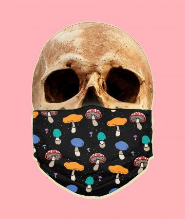 Psychedelic Forest Mushrooms Face Mask