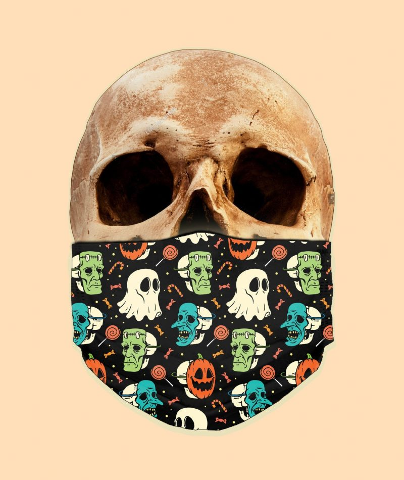 Vintage Cute Halloween Trick or Treat Face Mask