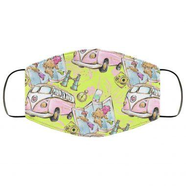 Yellow Hippie Van Face Mask - Travel Road Trip Girls Trip Map Binoculars Compass Traveling Mask