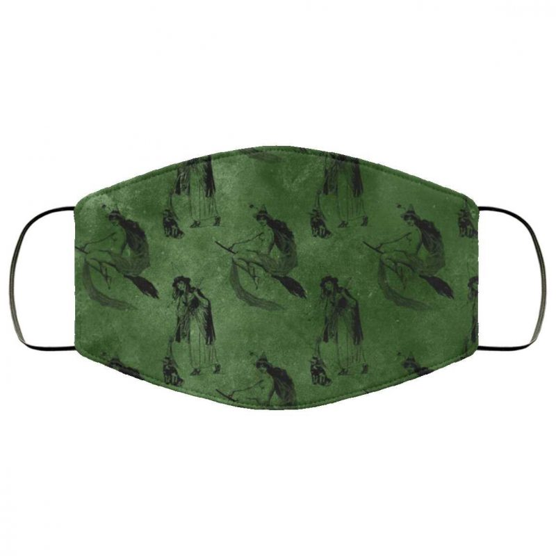 Vintage Green Witch Halloween Face Mask