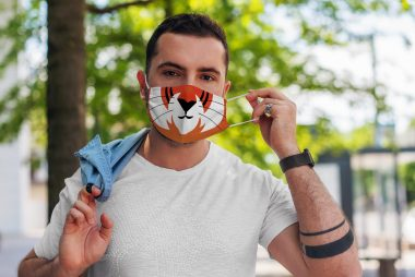 Cute Tiger Cartoon Face Animal Lover Face Mask