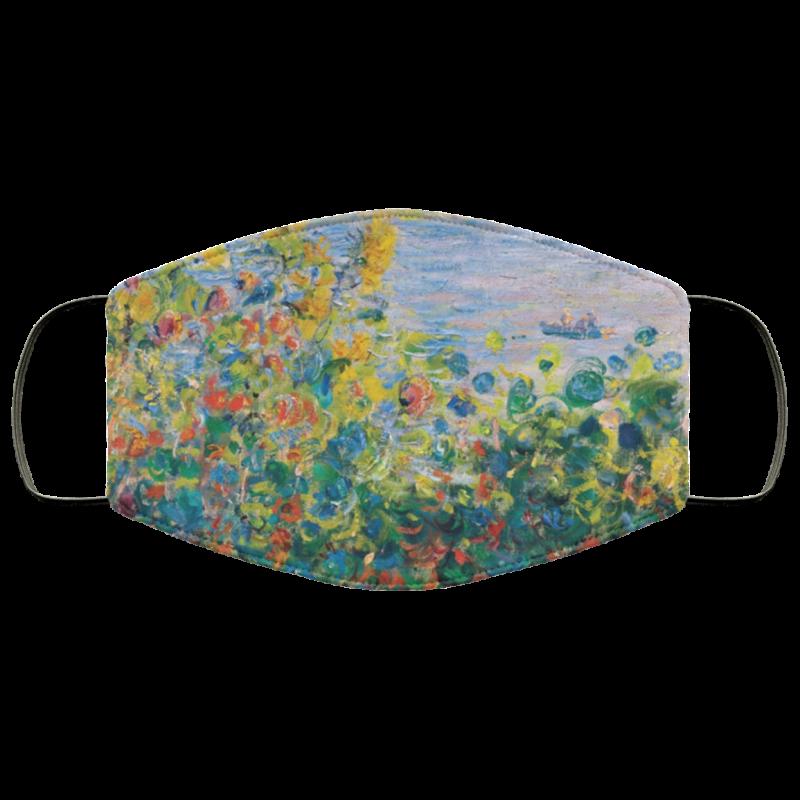 Claude Monet - Flower Beds at Vétheuil face mask washable reusable