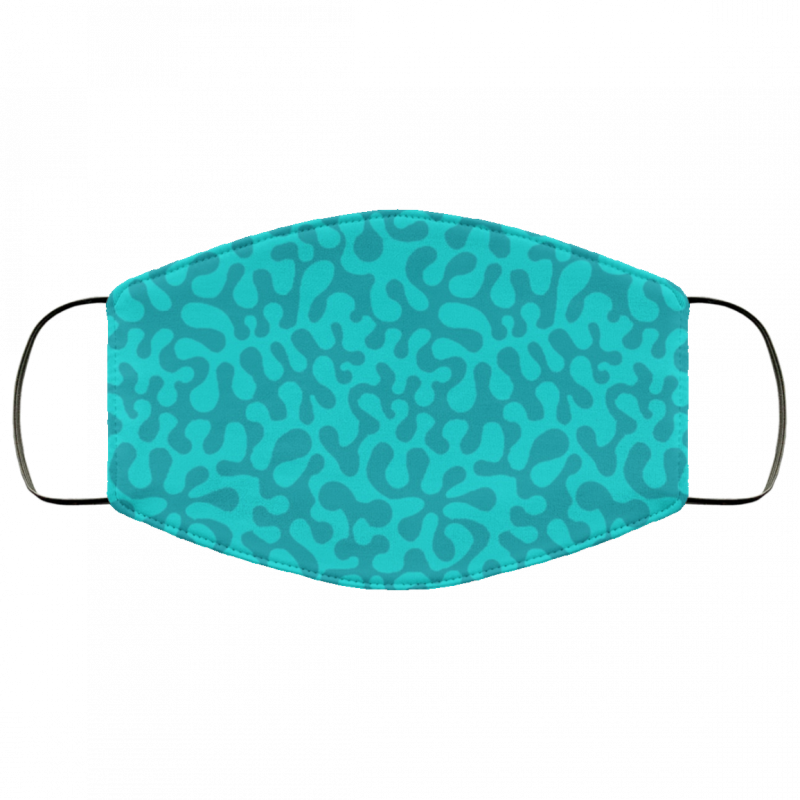 Abstract retro summer teal groovy pattern face mask