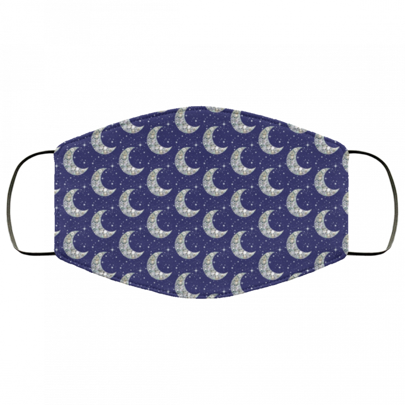 Moon vintage button moon and stars Venus Womens Face Mask