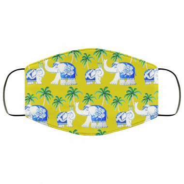 Yellow Chinoiserie elephants, blue and white with palm trees Face Mask