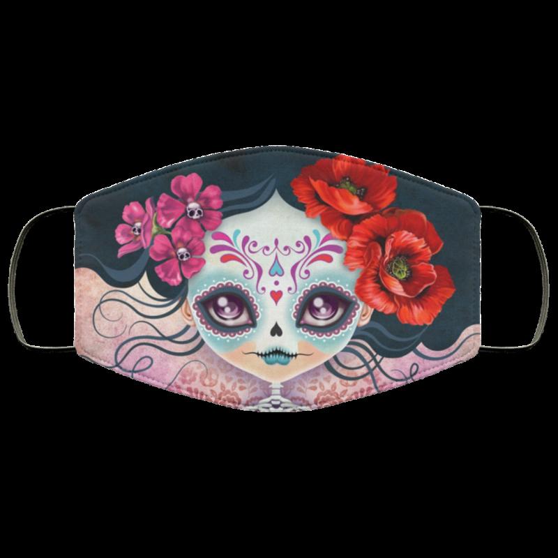 Amelia Calavera - Sugar Skull Face Mask washable, reusable