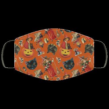 Vintage Black Cat Halloween Toss in Pumpkin Spice face Mask