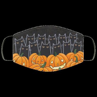 Black Cats & Jack-o-Lanterns face Mask