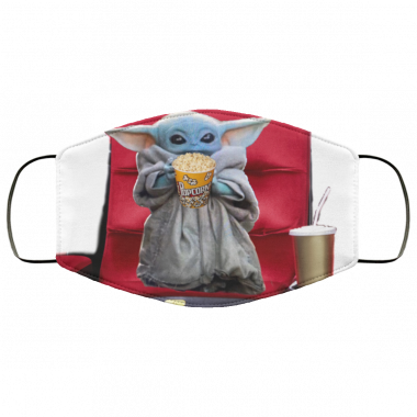 Baby Yoda Goes to the movies face Mask