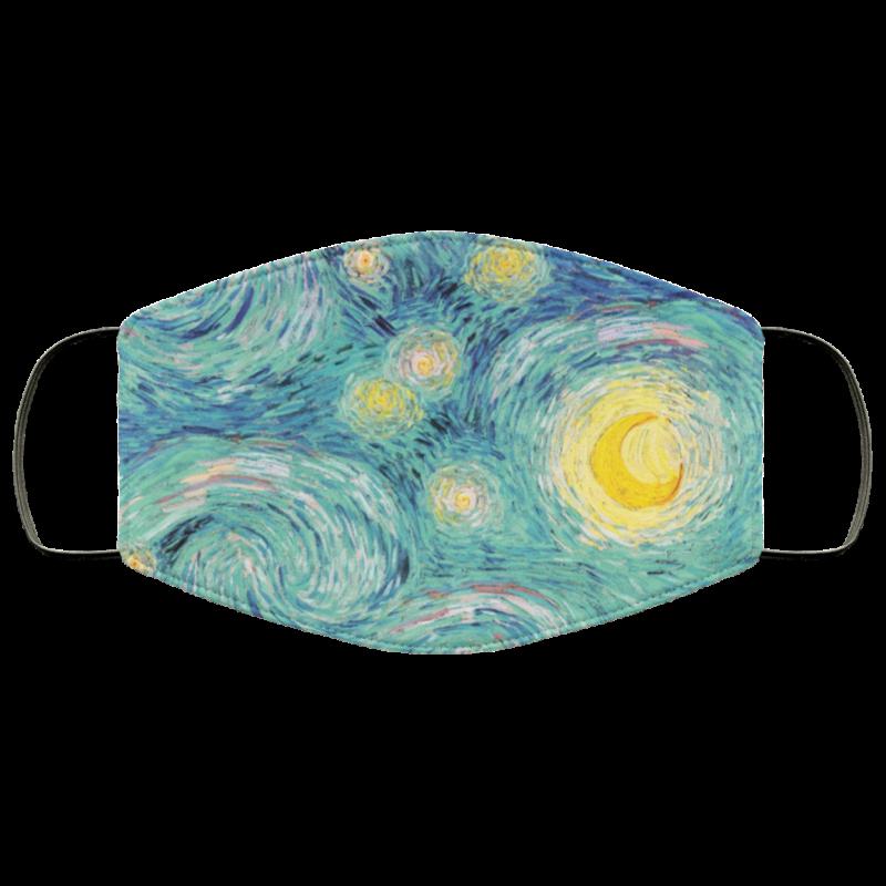 Van Gogh - Sea Foam Starry Night face mask washable