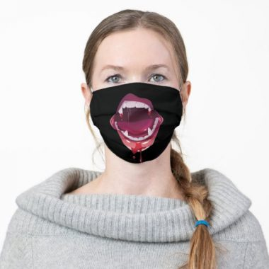 Black Vampire Open mouth with teeth Cloth Face Mask
