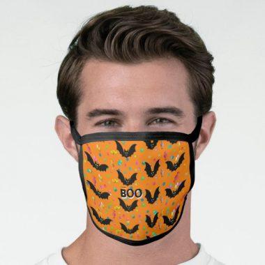 Boo bats candies child-friendly orange Halloween Face Mask
