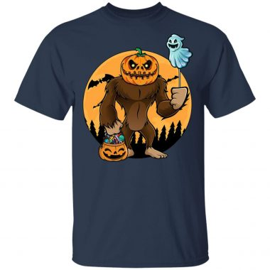 Bigfoot Pumpkin Trick Or Treat Head Halloween T-Shirt